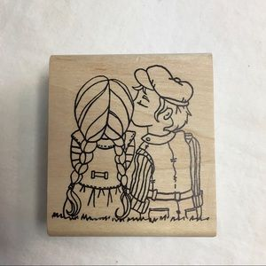 Magenta Young Love Wood Mounted Rubber Stamp